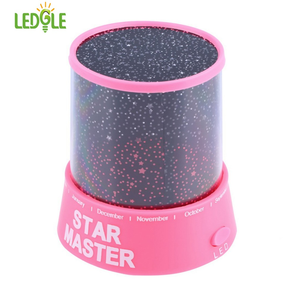 LEDGLE Romantic Cosmos Moon Star Master Projector LED Starry Night Sky Light Lamp, Pink rotation starry star moon sky romantic night projector light lamp pink