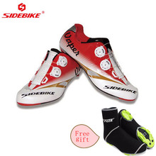 Sidebike 2017 Men Cycling Shoes Road Bike Carbon Light Breathable Leather slip-on bicycle Bike shoes sport road cycling shoe