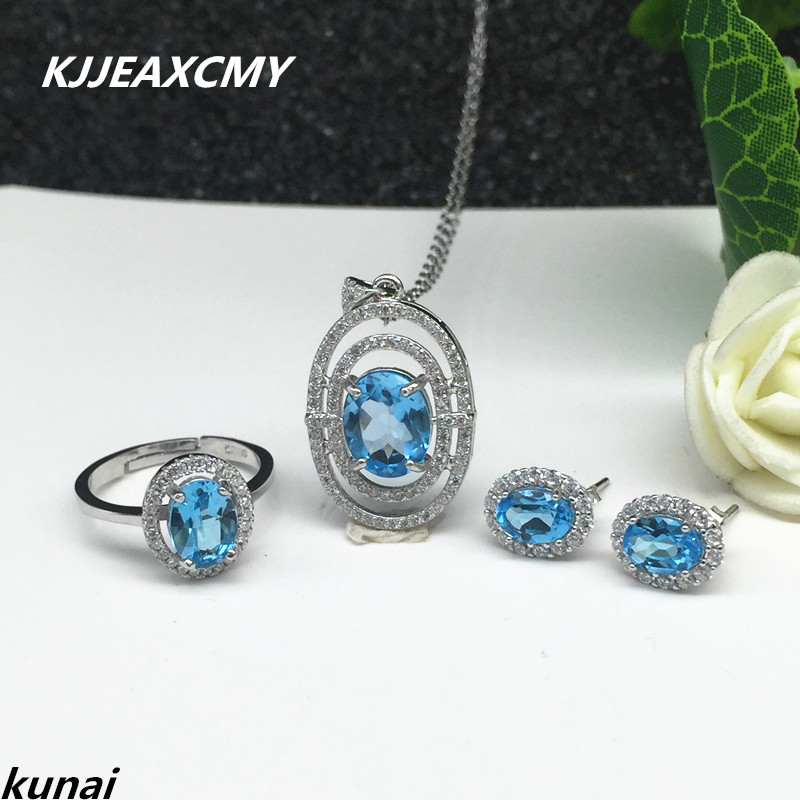 KJJEAXCMY Fine jewelry, 925 silver inlay natural Topaz Blue Suit female models simple wholesale