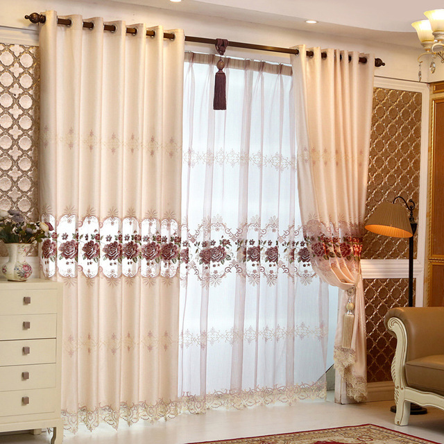 2017 New Curtains For Dining Living Bedroom Room Premium Water Soluble Embroidered Curtain Material Window Screen