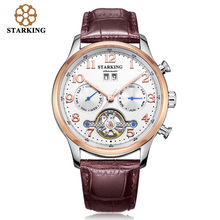 STARKING Mens Watches Automatic Mechanical Watch Tourbillon Leather Casual Business Wristwatch Relojes Hombre Top Brand Luxury