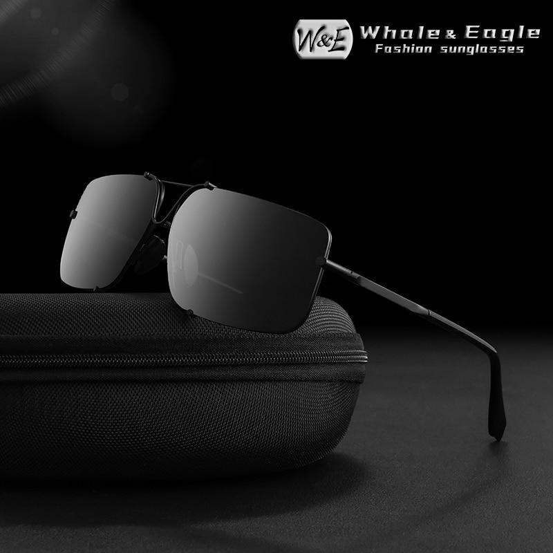 Whale&Eagle Alloy Frame Men Sunglasses Rimless Driver Mountaineering Polarized Lens Brand Cool Design Light Sun Glasses UV400