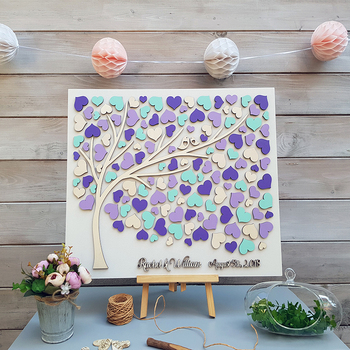 Personalized Wedding Guest Book Alternative Wood, Hearts Guestbooks Ideas, Tree Of Life Guest Book, Rustic 3D Wedding Guestbooks