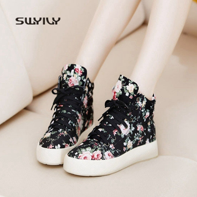 SWYIVY Women Walking Shoes Printing Flowers Canvas Inner Height Sneakers  2018 New Lace-up Sweet Girls Shoe Light Female Sneakers 9dea7d13dcde