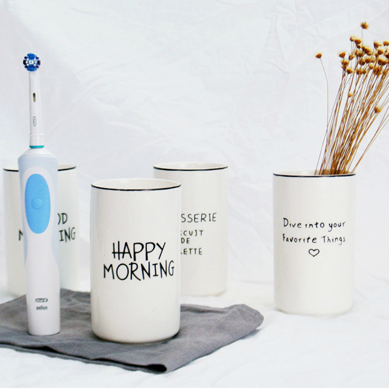 Nordic Simplified Style Fine Ceramic Toothbrush Cup French Letter Traveling Bathroom Tumblers Banyo Accessories Tooth Brush Mug