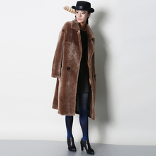 2017 New Female models fur coat and long sections Slim Noble POLO collar FurWXN040