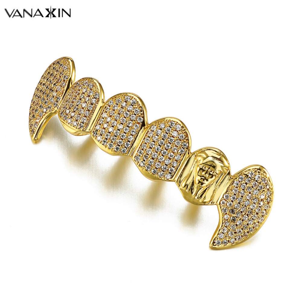 VANAXIN Hip Hop Gold Color Teeth Grillz Dental Mouth Punk Teeth Caps Cosplay Party AAA CZ Crystal Jewelry Gift Vampire Grills topgrillz hip hop grillz iced out aaa zircon fang mouth teeth grillz caps top