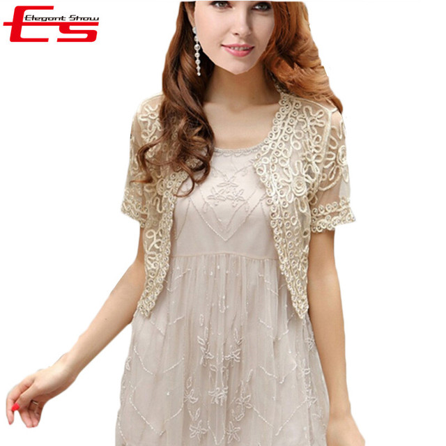 New 2017 Summer Perspective Short Jackets Shawl Chiffon Lady Lace Cardigan Gauze Lace Hand-beaded Boleros Fashion Women Clothing