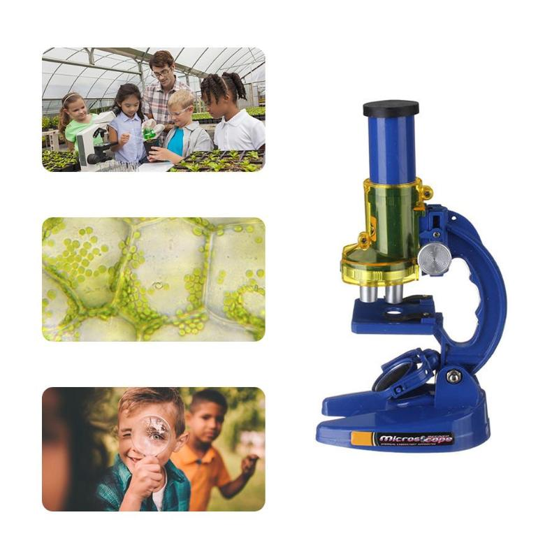 Microscope Kit Lab Led 100X 200X 450X Homeschool Science Educational Toy Gift Refined Biological Microscope For Kids Chil
