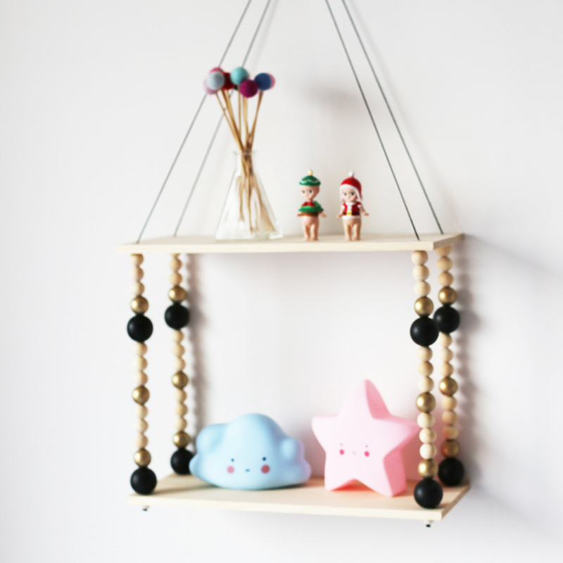 Nordic Home Decor Wall Background Baby Room Hanging Bead Wooden Shelf Decor Handcrafted Double Storage Wall Shelf Book Shelves