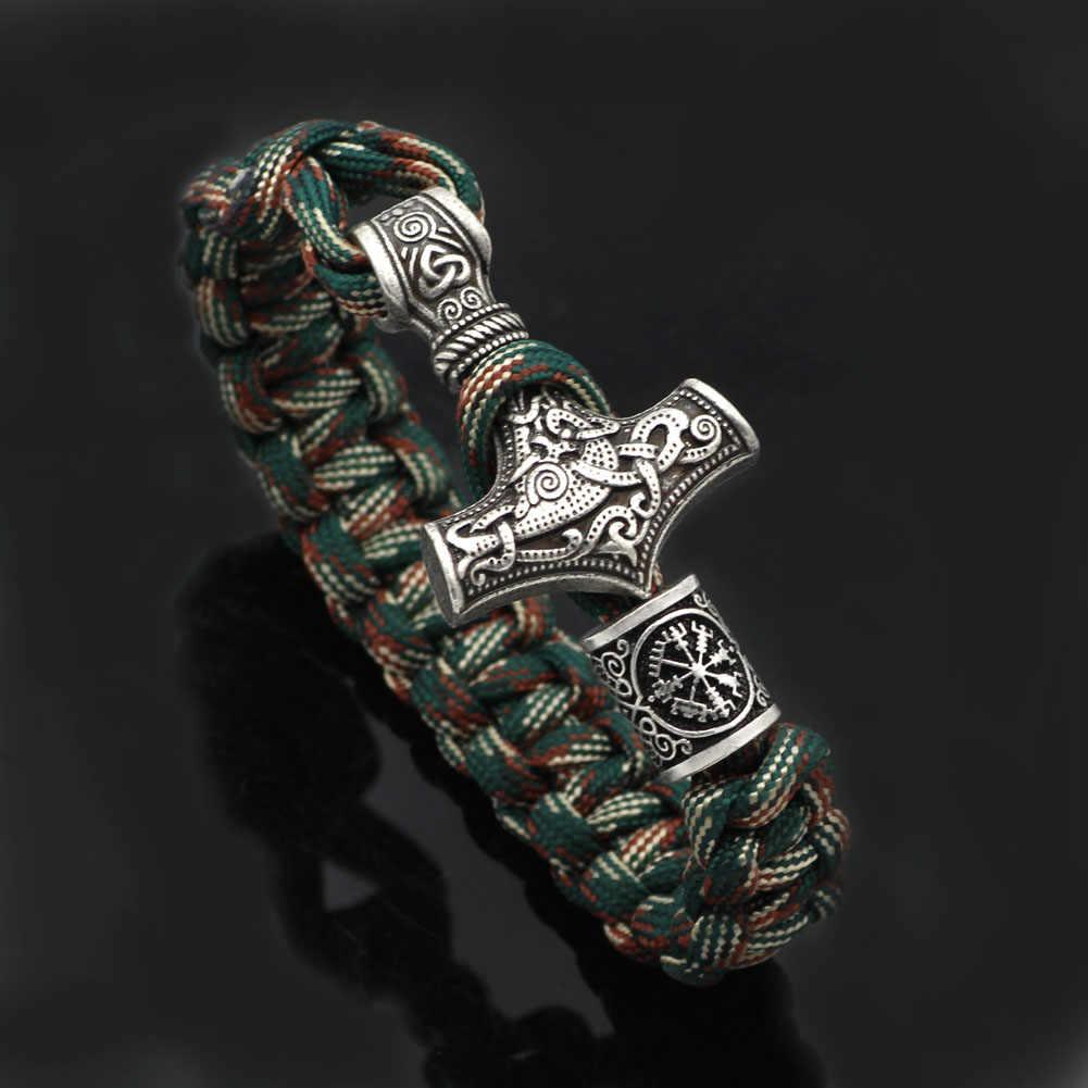 ผู้ชาย Vegvisir Pewter viking paracord สร้อยข้อมือ rune เข็มทิศลูกปัด