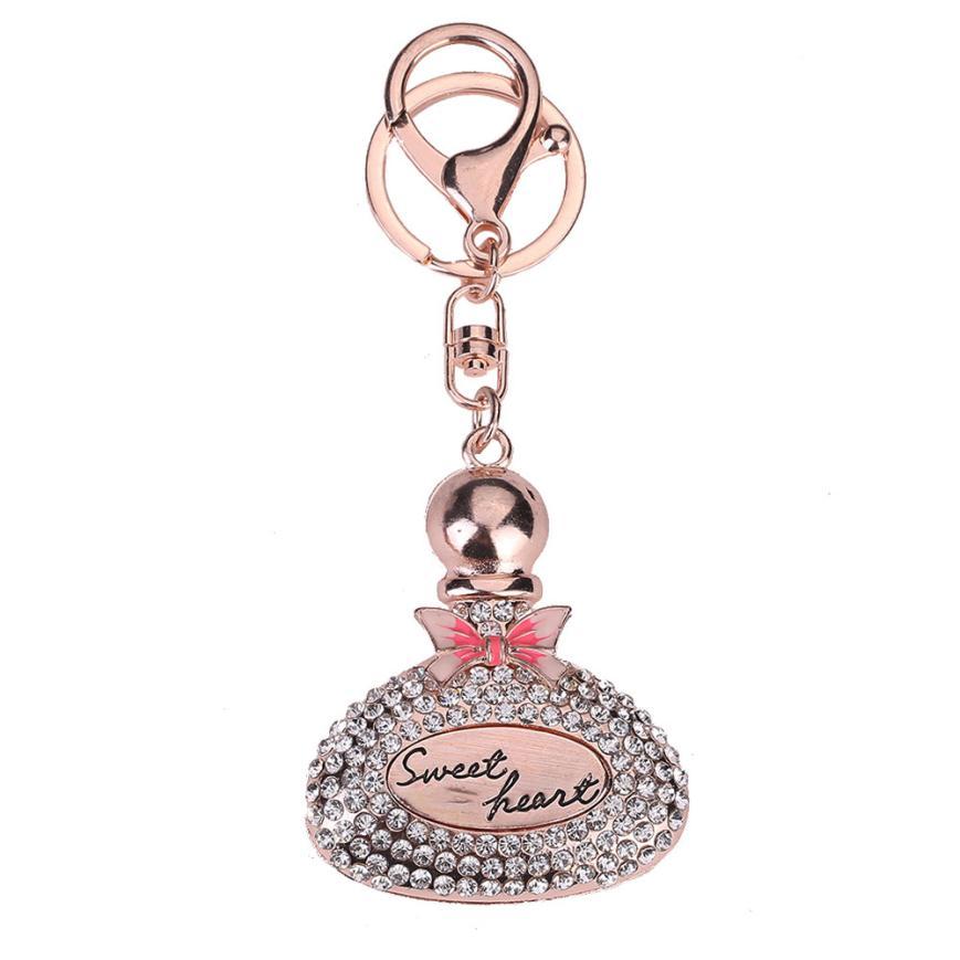 Rhinestone Sweet Heart Perfume Bottles Sparkling Charm Keychain Bag Handbag Dangle Key Ring Car Key Pendant