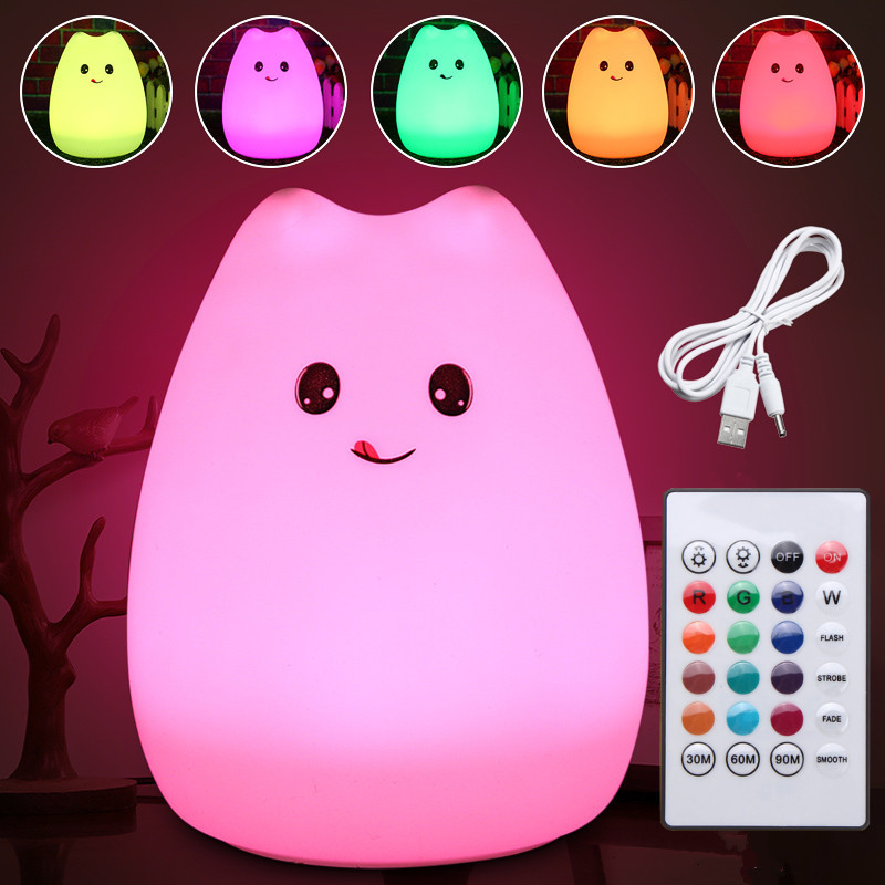 Rechargeable USB LED Colorful Silicone Animal Cat Night Light Remote Control Table Lamp Bedroom Children Gift beiaidi 7 color usb rechargeable rabbit led night light dimmable animal cartoon light with remote baby kids christmas gift lamp