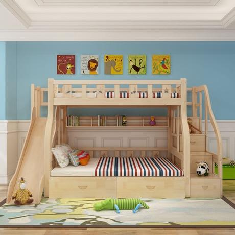 Los ni os camas para ni os de madera maciza muebles de los ni os arriba y abajo camas dobles - Camas con tobogan para ninos ...