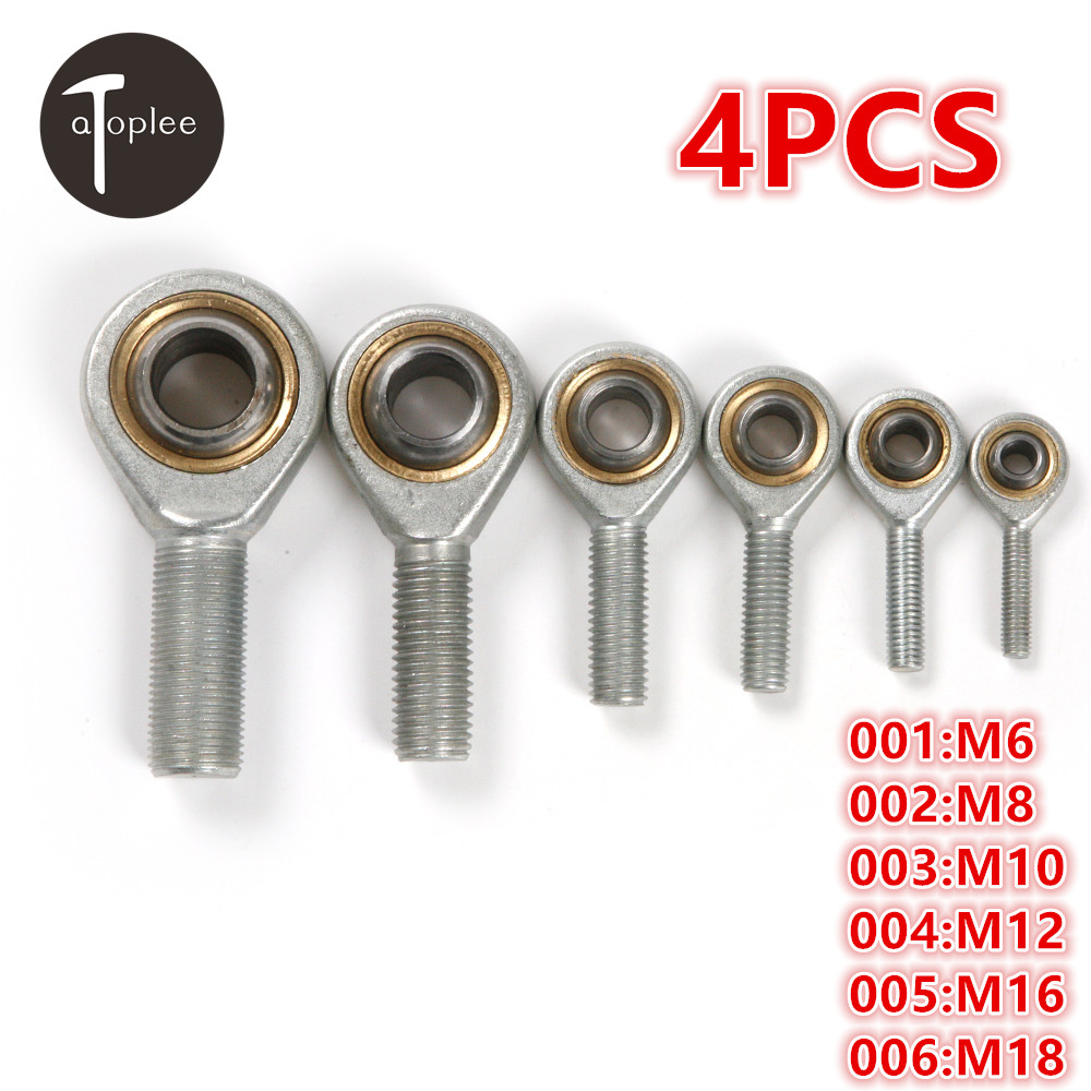 4PCS M6 M8 M10 M12 M16 M18 Male Oscillating Bearing Thread Fish Eye Rod End Joint Bearing Machine Ball Bearing