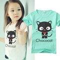 Los Bebés de la Camiseta Verano de Los Niños de Algodón Gato Encantador de Impresión de Manga Corta Camisetas Niños unisex Ropa Del Bebé lindo ocasional