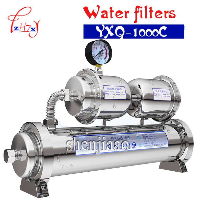 YXQ-1000C Water treatment water filter water purifier 1000L/H stainless steel durable with water pressure meter sterilization 500l h kitchen water filter machine with 304 stainless steel shell and food grade ultrafiltration membrane for water treatment