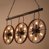 Винтаж Лофт личности кованого железа колеса подвесной светильник Промышленные Ретро Эдисон лампа декоративная подвеска лампа светильник