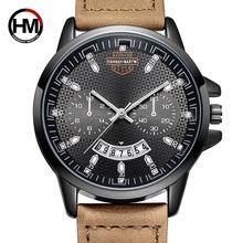 цена Hannah Martin Top Luxury Brand Men Sport Watches Men's Quartz Date Clock Man Leather Army Military Wrist Watch Relogio Masculino онлайн в 2017 году