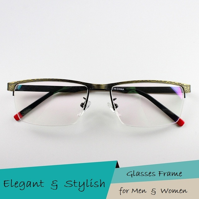 Medio Marco Hombres Gafas de Marcos de Anteojos Ópticos de Moda Con Estilo Masculino