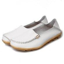 цена на Women Comfort Loafers Slip On Women Genuine Leather Soft Women Shoes Woman Plus Size Flats Ladies Shoes Zapatos De Mujer