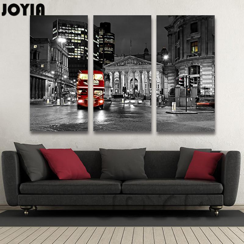 Moderne UK City Night Wandmalerei Wohnzimmer Dekor Schwarz Weiss London Leinwand Drucke Wall Dekore