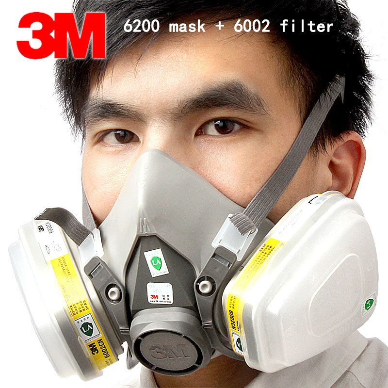 3M 6200 mask +6002 filter respirator mask Genuine high quality respirator gas mask against Acid gas Chlorine gas  gasmaske 3m 6200 6005 respirator gas mask genuine security 3m protective mask against formaldehyde organic vapor gasmaske