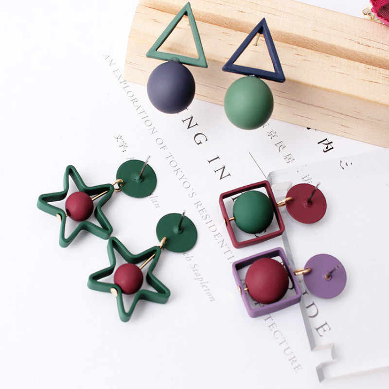 Europe and the United States geometry round triangle square pentagram hit color temperament green ear jewelry