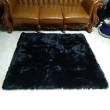 Black Faux Sheepskin Fluffy Hairy Fur Chair Seat Sofa Cover Rectangle Square Decorative Carpet Prop Mat Area Rug Living Bedroom