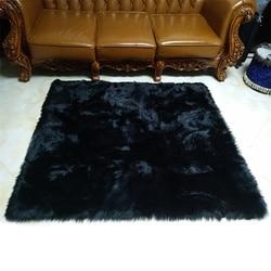 Czarny Faux kożuch puszyste włochate futro na fotel narzuta na sofę prostokąt kwadratowy dekoracyjny dywan Prop Mat dywan do składania salon sypialnia w Dywany od Dom i ogród na