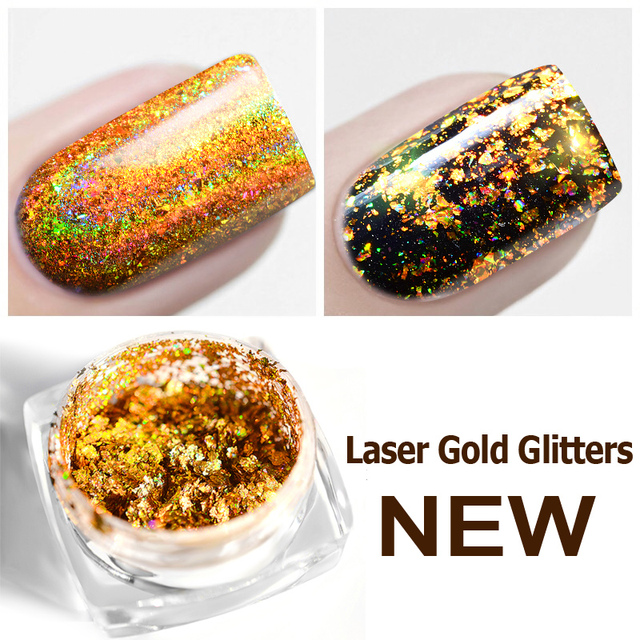 Laser Gold Holo Nail Glitters Sequins Flakes 0.2g Galaxy Nail Chrome Dust Pigment DIY Manicure Nail Decoration Tools