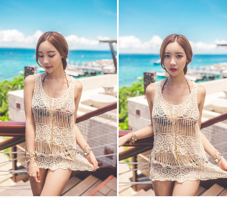d3b334ef9a1a3 Summer beach dress knitted Bikini Cover Up Korean style Beige sexy hollow  cute lace crochet dresses beach cover up tunic dress-in Dresses from  Women's ...