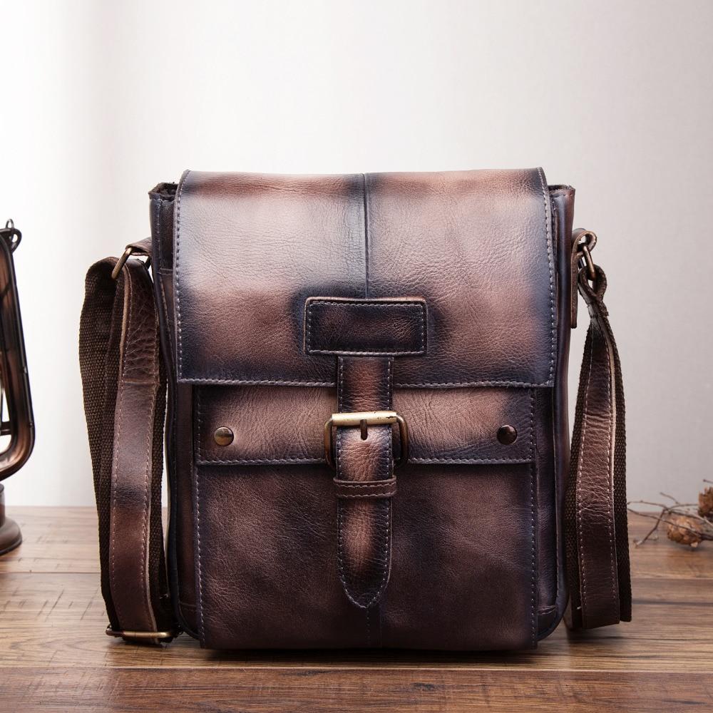 Fashion Quality Leather Male Casual Messenger bag Satchel Cowhide Design Crossbody Shoulder bag School Book Bag