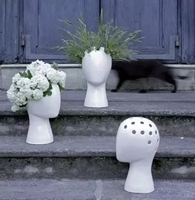 Twórczy ludzkiej głowy biały czarny dekoracyjne bastract ceramiczny wazon bez kwiat modelu pokoju ozdoby do dekoracji domu