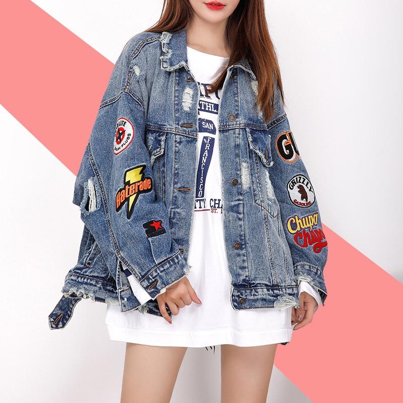 2019 BF Harajuk Loose Denim Jacket Women Embroidery Jeans Coat Hip Hop Hole Single Breasted Jeans Jacket Casual Women Jacket