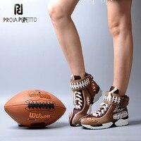 Prova Perfetto/Повседневные кроссовки смешанных цветов на шнуровке с пряжкой в европейском и американском стиле, модная обувь из натуральной кожи