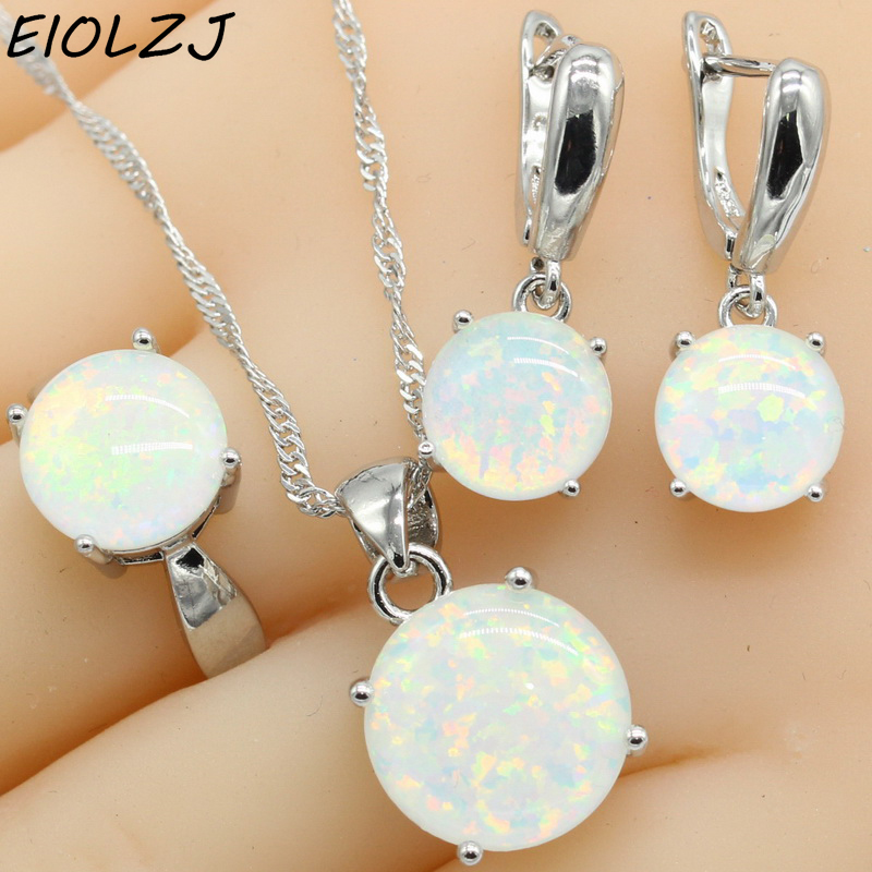 925 Sterling Silver Jewelry Sets For Women Round White Fire Opal Necklace Pendant Dangle Earrings Choker Ring Gift Box Free Ship wpaitkys trendy white opal 925 silver jewelry sets women s wedding necklace earrings ring bracelet free box