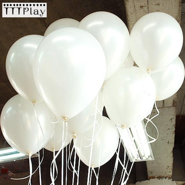 100 قطعة/الوحدة 10 بوصة 1.5 جرام الأبيض اللاتكس بالونات الزفاف الديكور نفخ حفلة عيد ميلاد بالونات الهيليوم Globos Balony لوازم