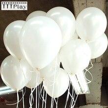 100 Cái/lốc 10 Inch 1.5G Trắng Bong Bóng Cao Su Trang Trí Đám Cưới Bơm Hơi Sinh Nhật Heli Bóng Globos Balony Tiếp Liệu