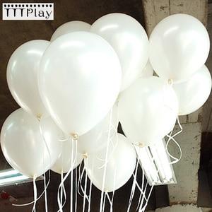 Image 1 - 100 Cái/lốc 10 Inch 1.5G Trắng Bong Bóng Cao Su Trang Trí Đám Cưới Bơm Hơi Sinh Nhật Heli Bóng Globos Balony Tiếp Liệu