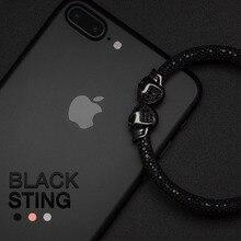 2020 Nieuwe Mens Black Stingray Armband Met Micro Pave Black Cz Skull Kralen Charm Armbanden Fit Voor Luxe Horloge Accessoires