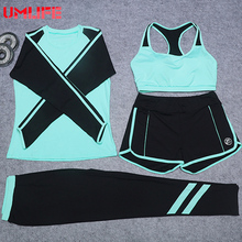 UMLIFE 4 Piece Set Women Yoga Clothes Outdoor Fitness Running Clothes Patchwork Yoga Bra Shirt Elastic High Quality Sports Suit