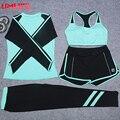 Umlife 4 peça definir mulheres yoga roupas de ginástica ao ar livre correndo roupas patchwork yoga bra camisa elástica de alta qualidade terno dos esportes