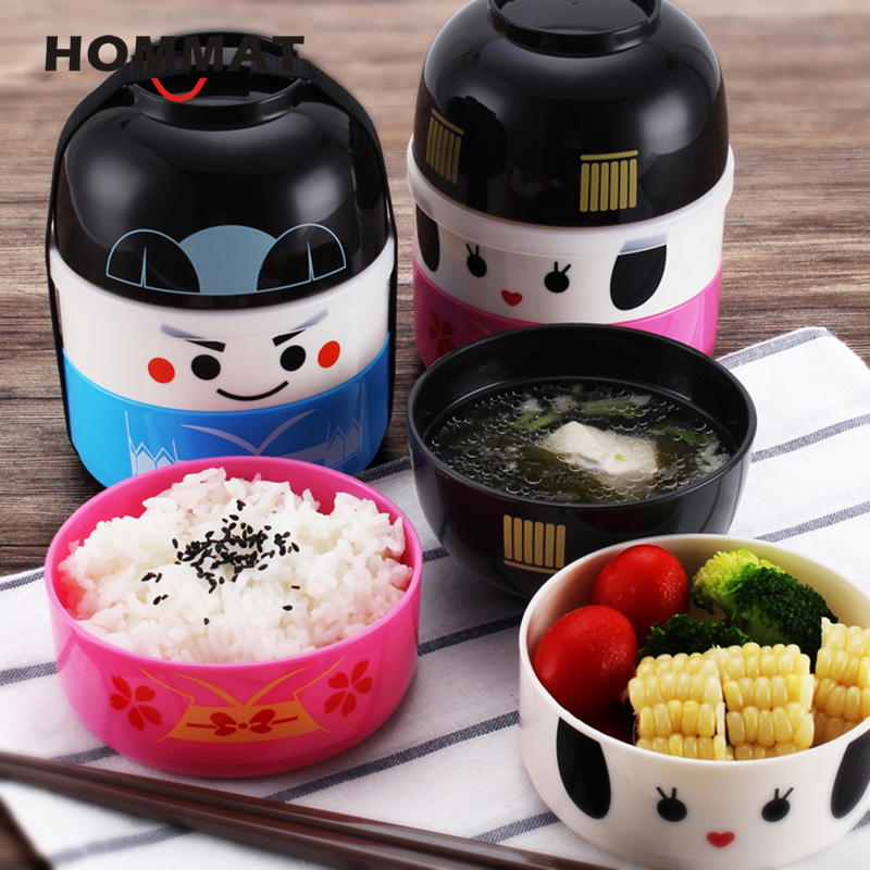 Hakoya Geisha Doll Kawaii Japanese Bento Box Lunch Box for Kids Picnic School Food Container Lunchbox with Lunch Bag Plastic