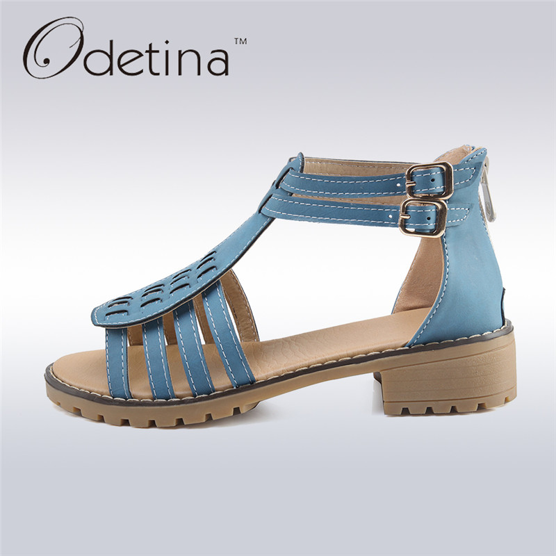Odetina 2017 Summer Ladies T Strap Sandals for Women Low Chunky Heel Buckle Ankle Strap Peep Toe Sandals Sweet Big Size 34-43 stylish women s peep toe shoes with buckle strap and chunky heel design