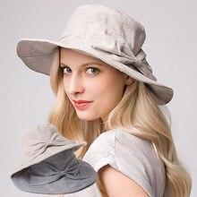 0d806f33c3f 2018 Summer Korean Women Bow Tie Cotton Linen Bucket Hat Fashion Design UV  Protection Striped Sun Hat Big Brimmed Foldable Hats
