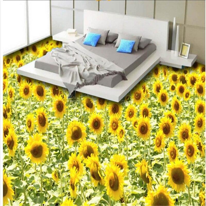 beibehang custom background 3D Aesthetic Sunflower Sunflower three-dimensional paste to the living room bedroom wear-resistan