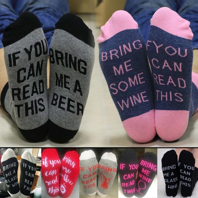 super pas cher prix de la rue en stock € 1.77 49% de réduction|Chaussettes amusantes si vous pouvez lire ceci  apportez moi des chaussettes en coton de bière harajuku jacquard Crew  unisexe ...