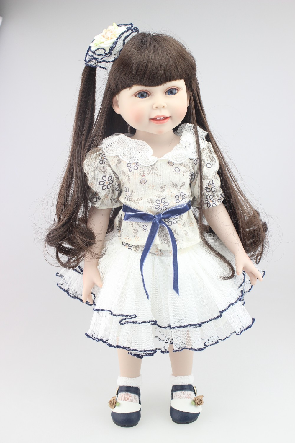 Realistic American girl doll 18inches fashion play doll education toy for girls birthday Gift or kid's doll lifelike american 18 inches girl doll prices toy for children vinyl princess doll toys girl newest design