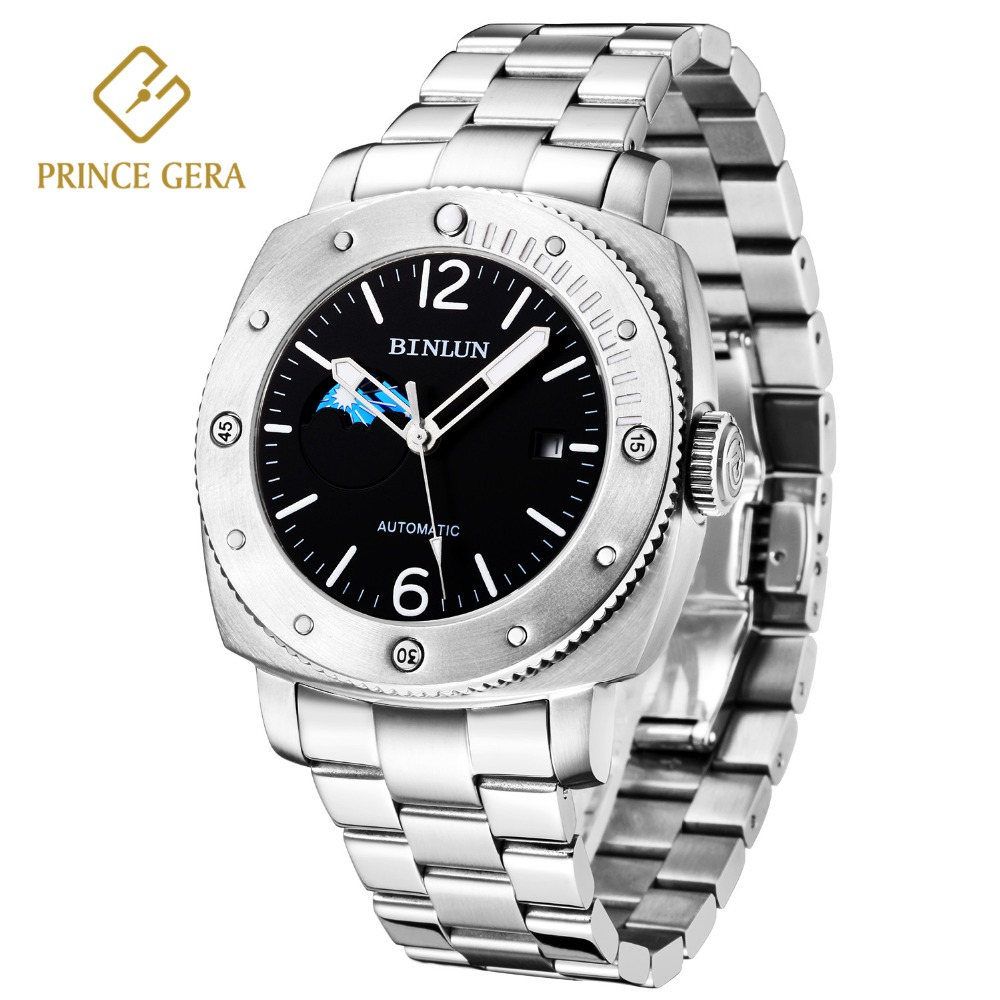 PRINCE GERA Mens Top Sport Automatic Watch Silver Durable Waterproof Sapphire Scratchproof Top Luxury Business Mechanical WatchPRINCE GERA Mens Top Sport Automatic Watch Silver Durable Waterproof Sapphire Scratchproof Top Luxury Business Mechanical Watch